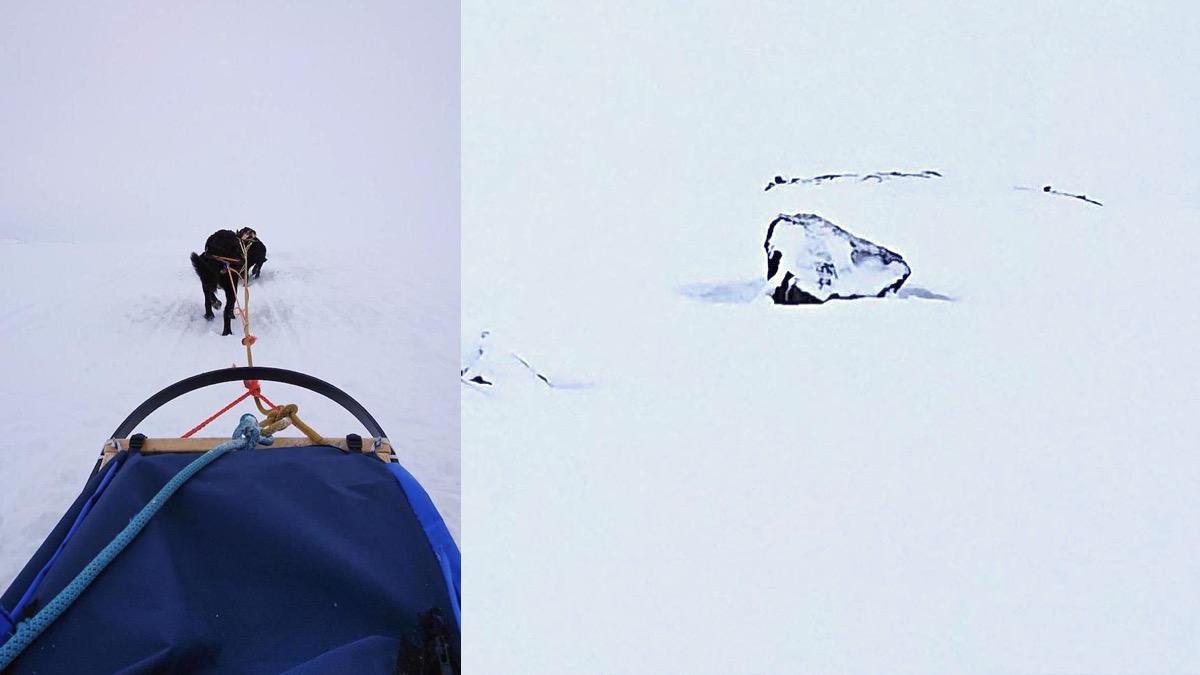 "Left: Sled dog pulling a sled in a whiteout in Finse, Norway where Star Wars: The Empire Strikes Back's Hoth scenes were filmed. Right: ""Han's Rock."""