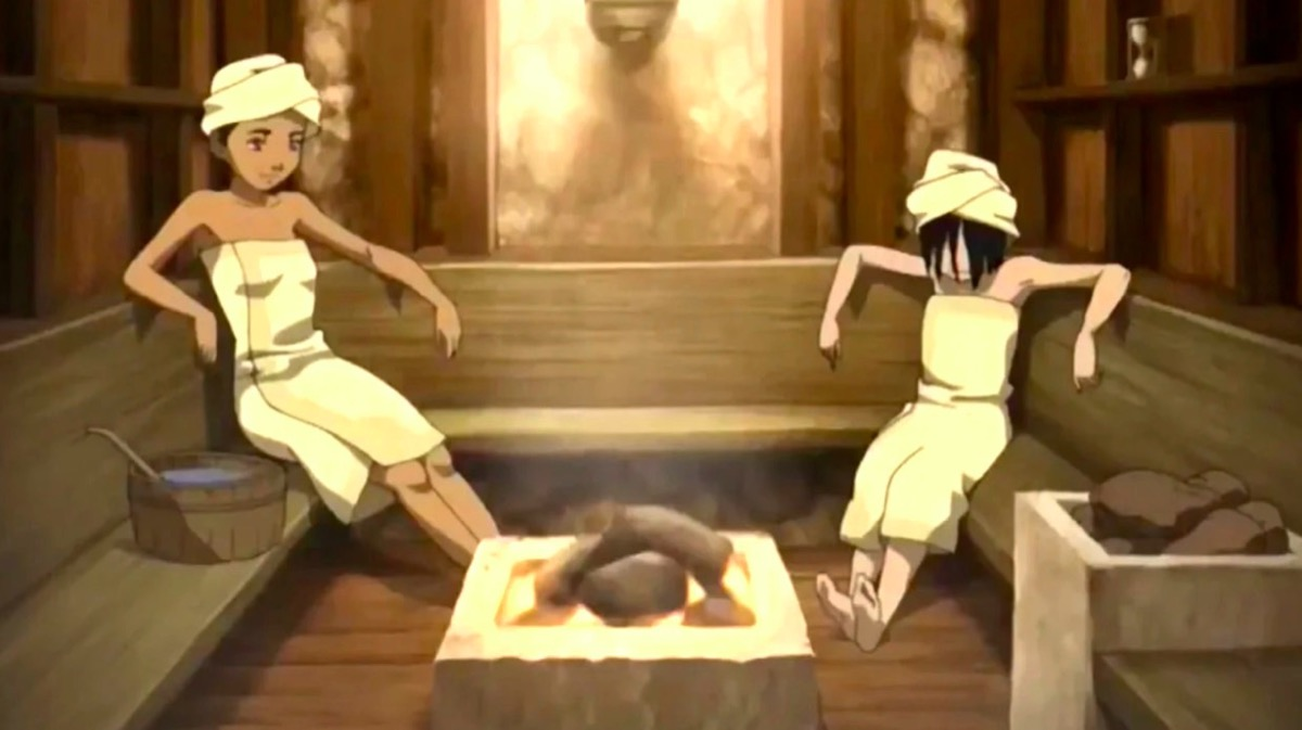"Katara and Toph in the sauna in the Avatar: The Last Airbender ""filler"" episode ""The Tales of Ba Sing Se."""