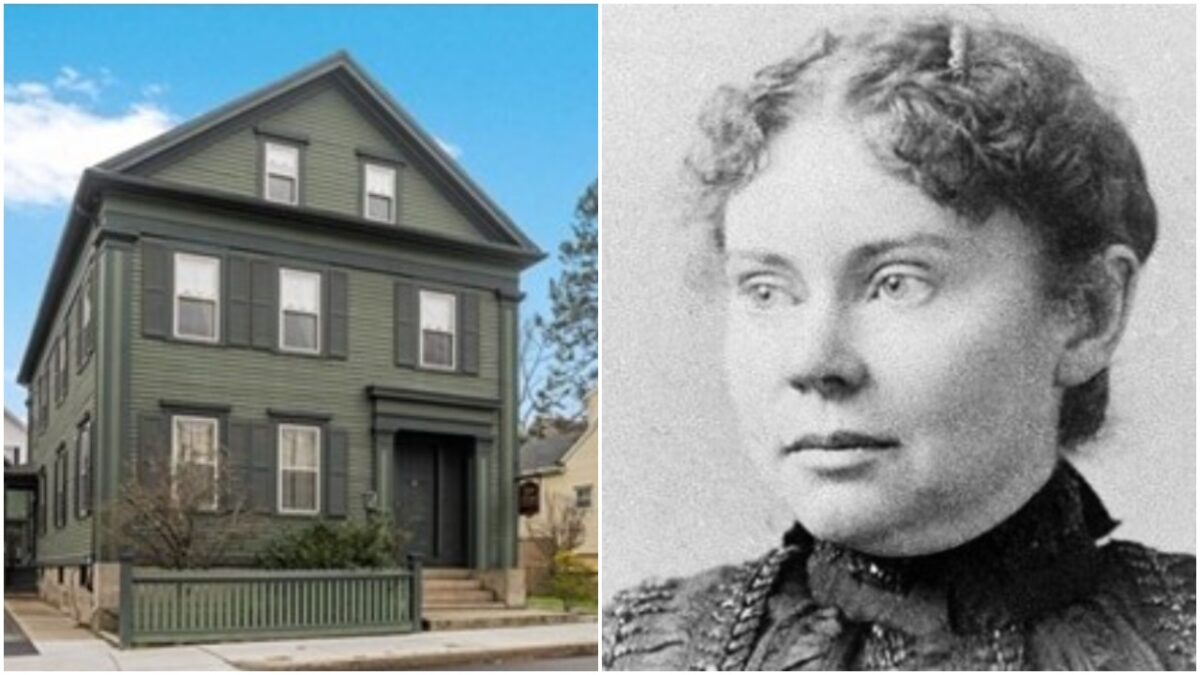 collage of lizzie borden and the house where she allegedly killed her parents