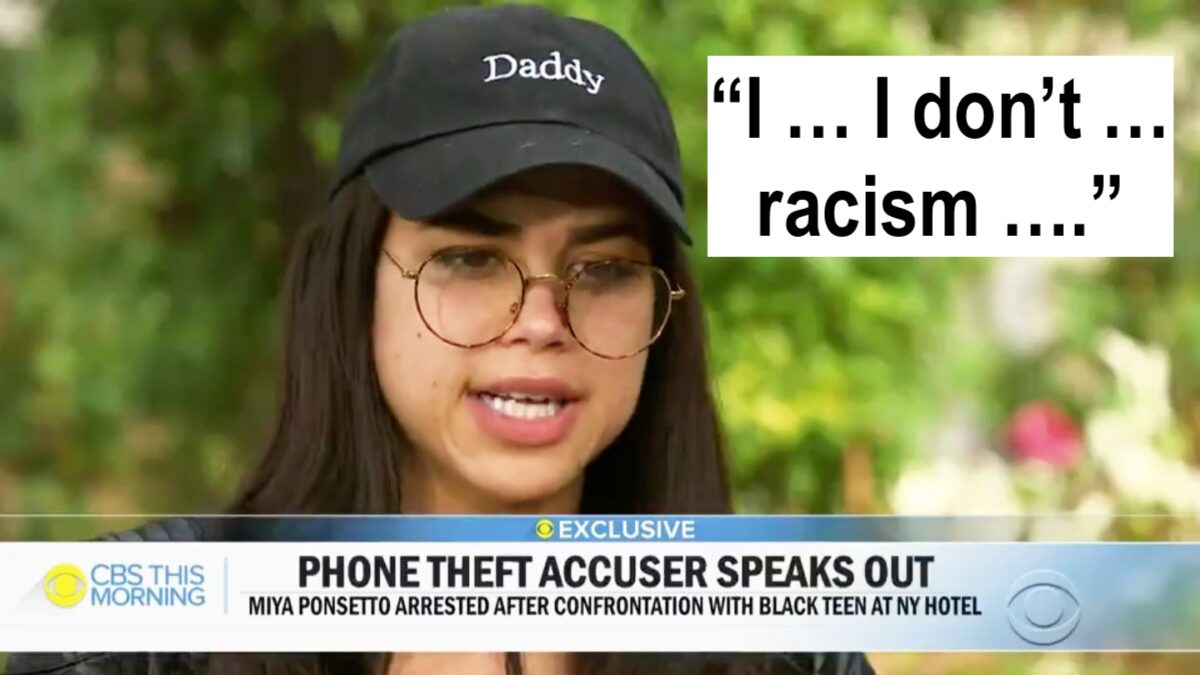 """Miya Ponsetto in her stupid """"daddy"""" hat saying """"I ... I don't ... racism ..."""""""