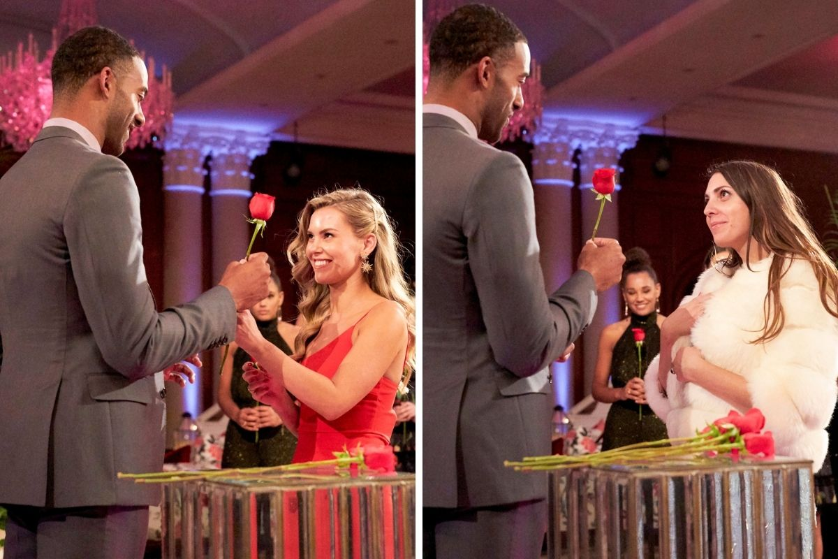 The Bachelor Matt gives Anna and Victoria a rose during Rose Ceremony.