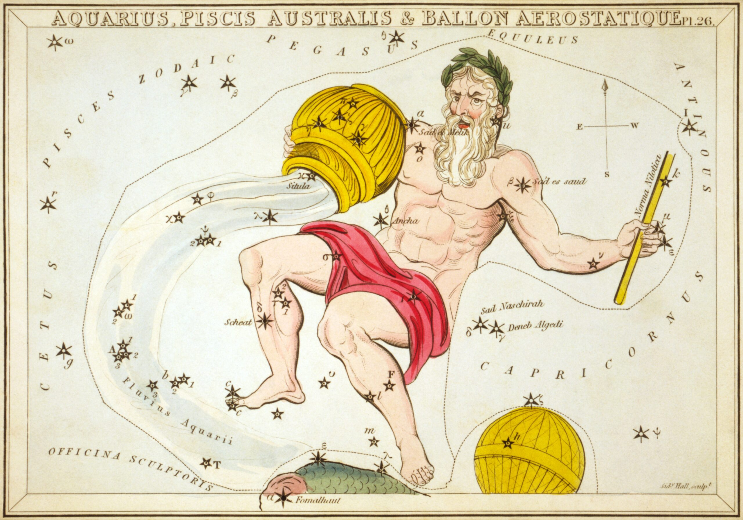 """""""Aquarius, Piscis Australis & en:Ballon Aerostatique"""", plate 26 in Urania's Mirror, a set of celestial cards accompanied by A familiar treatise on astronomy ... by Jehoshaphat Aspin. London. Astronomical chart, 1 print on layered paper board : etching, hand-colored."""