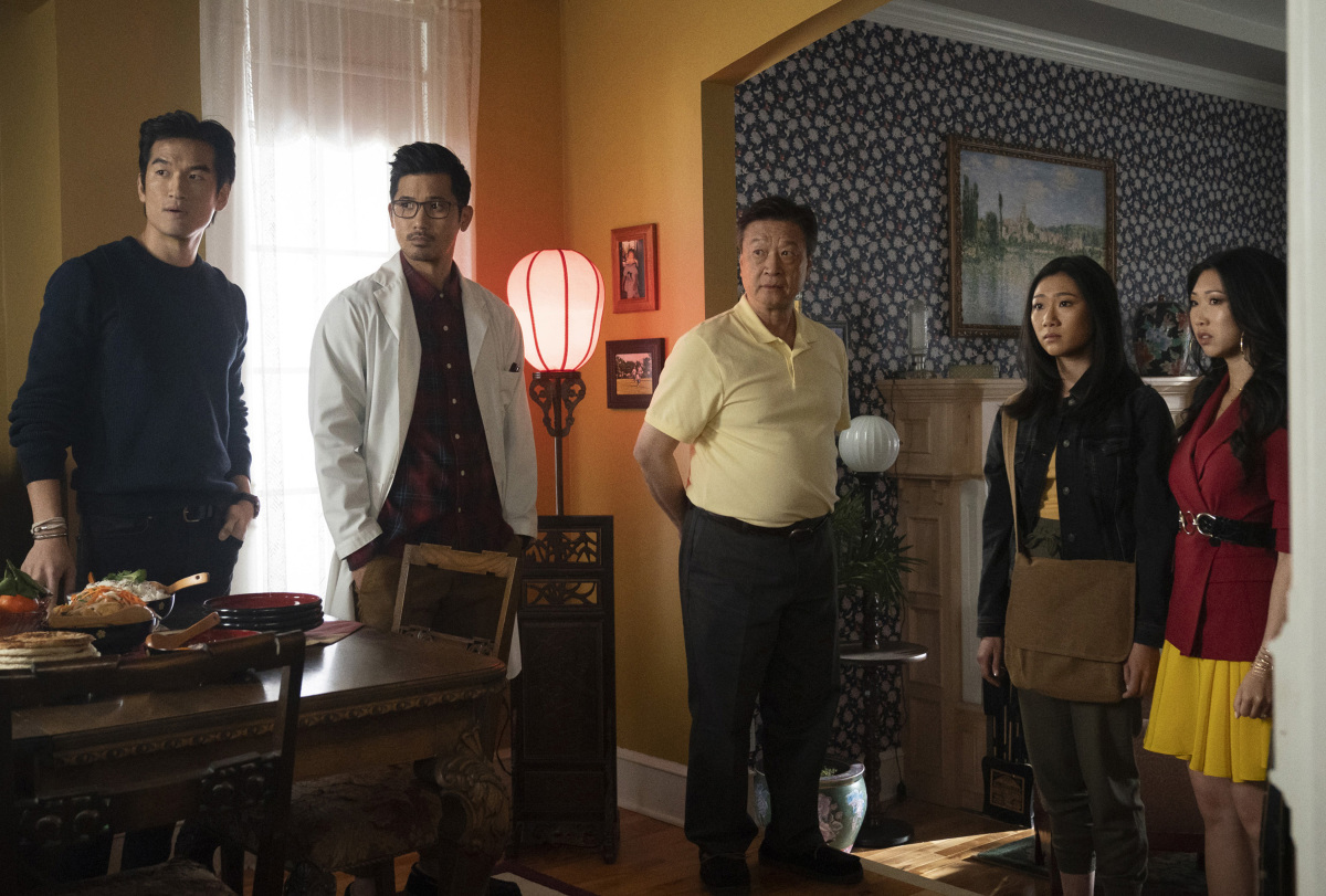 """Kung Fu -- """"Pilot"""" -- Image Number: KF101b_0279r2.jpg -- Pictured (L-R): Tony Chung as Dennis Song, Jon Prasida as Ryan Shen, Tzi Ma as Jin Shen, Olivia Liang as Nicky Shen and Shannon Dang as Althea Shen -- Photo: Katie Yu/The CW -- © 2021 The CW Network, LLC. All Rights Reserved"""