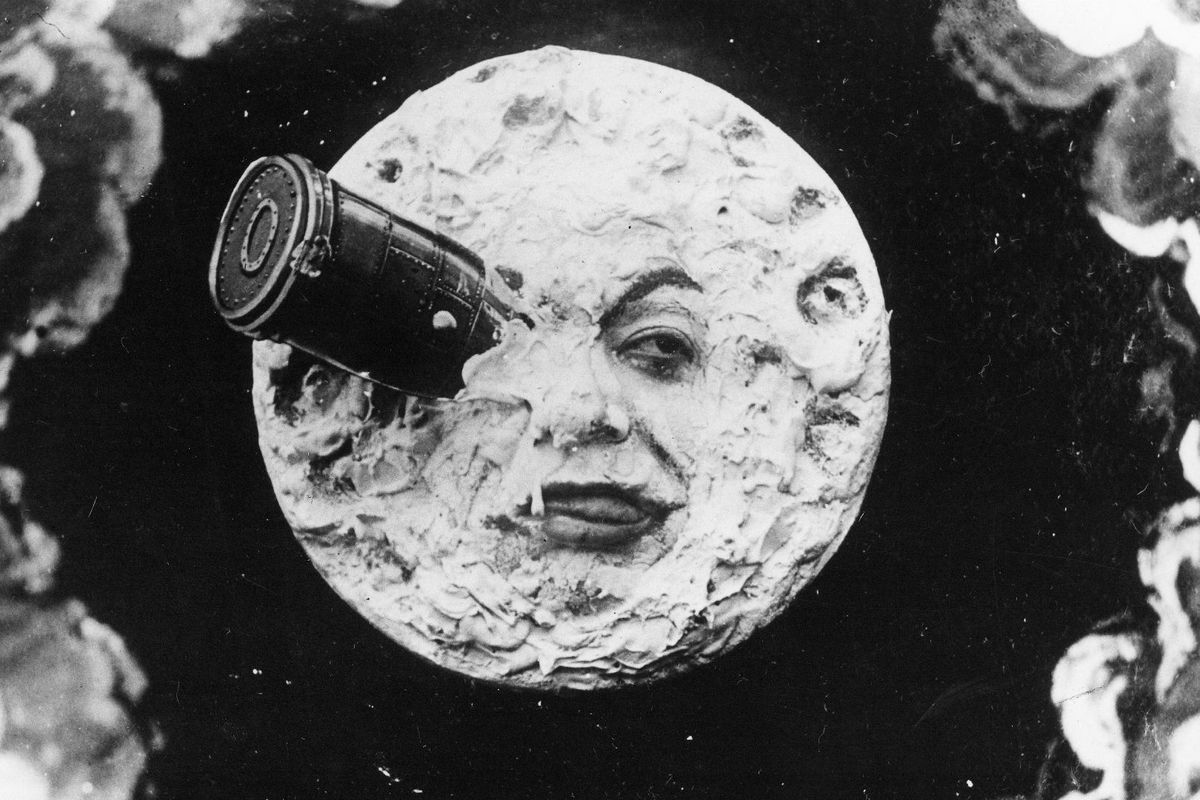 A scene from Georges Méliès's 1902 film A Trip to the Moon, the moon with a rocket in it's eye