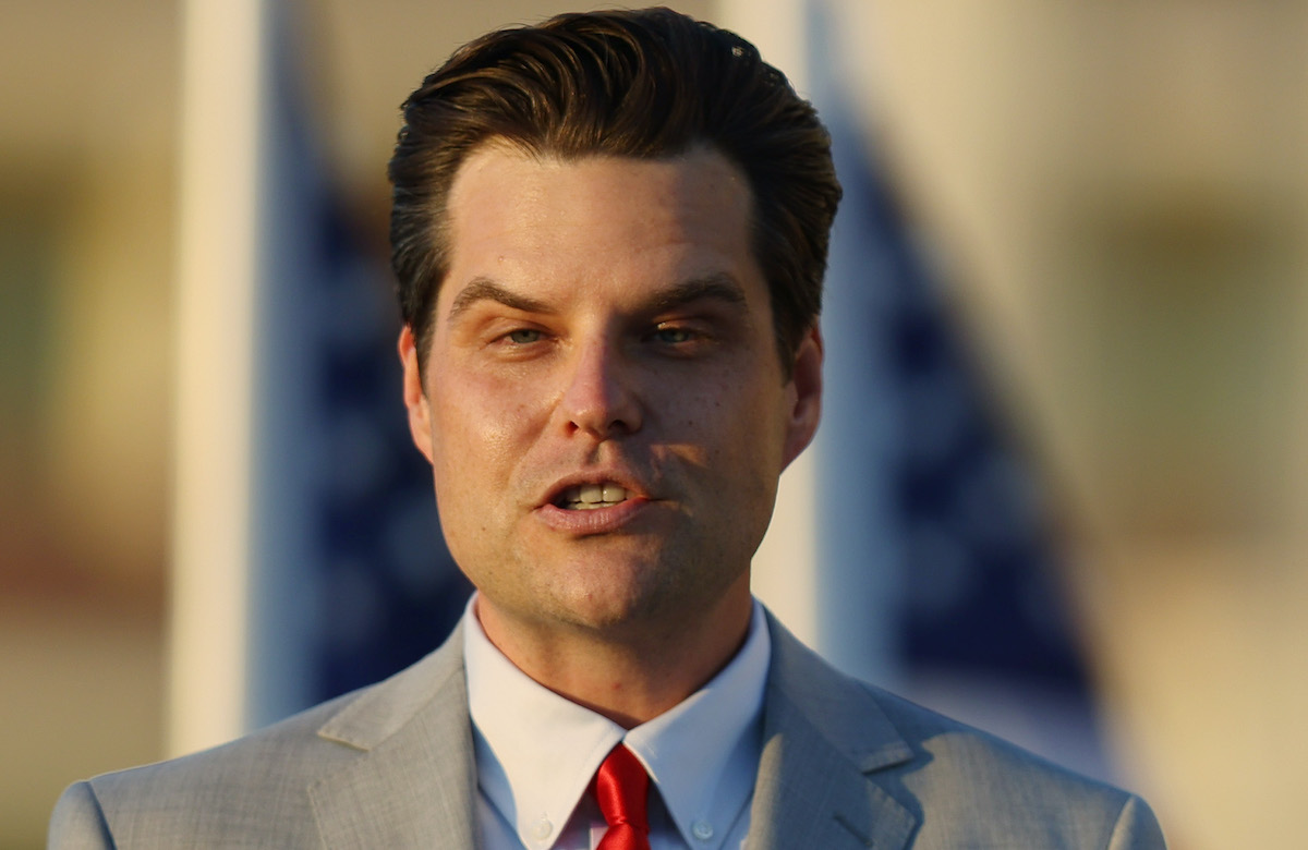 "Rep. Matt Gaetz (R-Fl) speaks during the ""Save America Summit"" at the Trump National Doral golf resort"