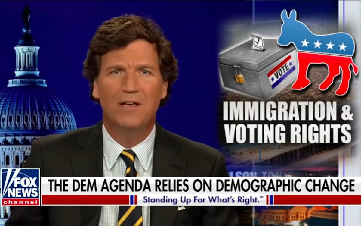 Tucker Carlson says something racist about voter demographics