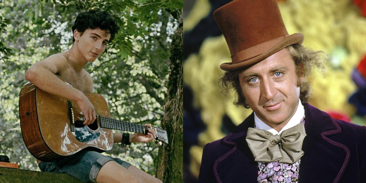 Timothée Chalamet in Call Me By Your Name and Gene Wilder in Willy Wonka and the Chocolate Factory