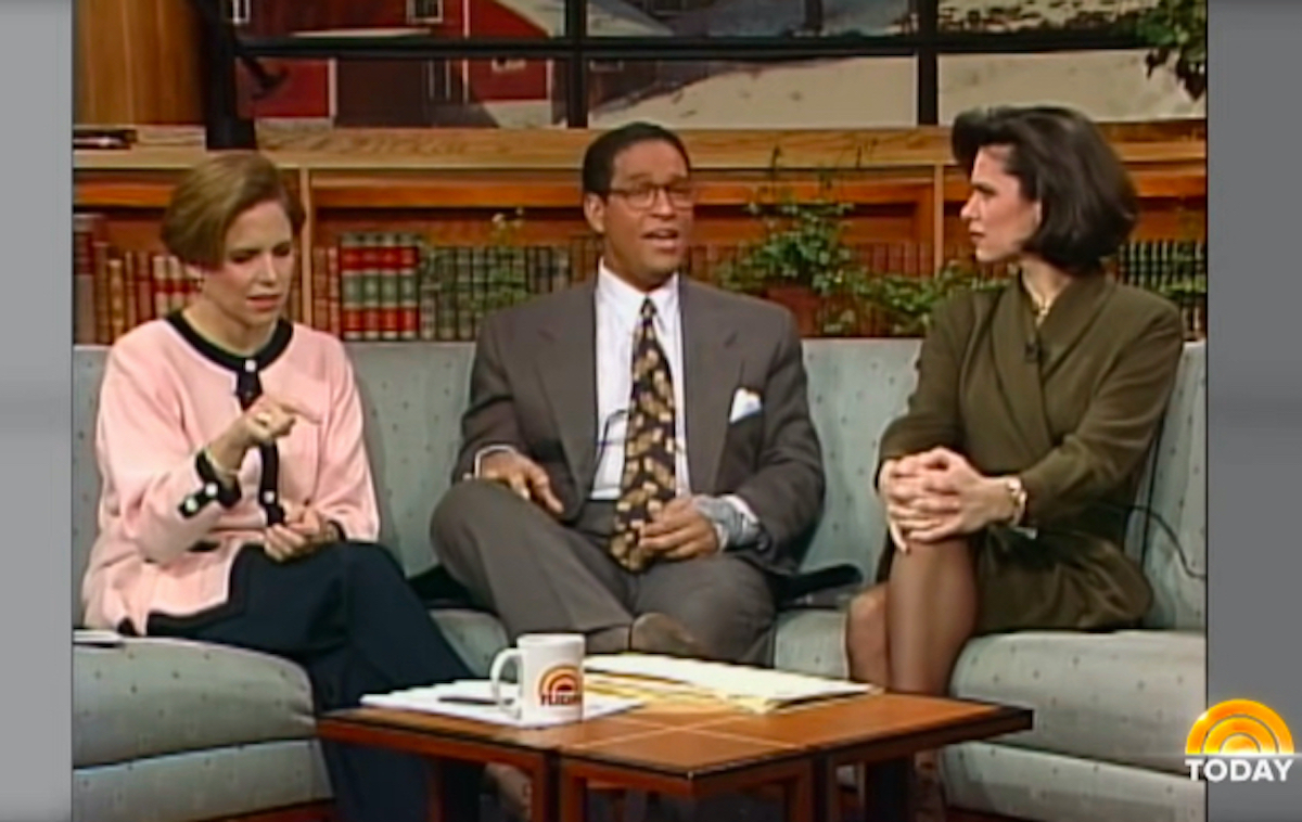 A shot from a 1994 episode of the Today Show featuring three hosts taking on a sofa