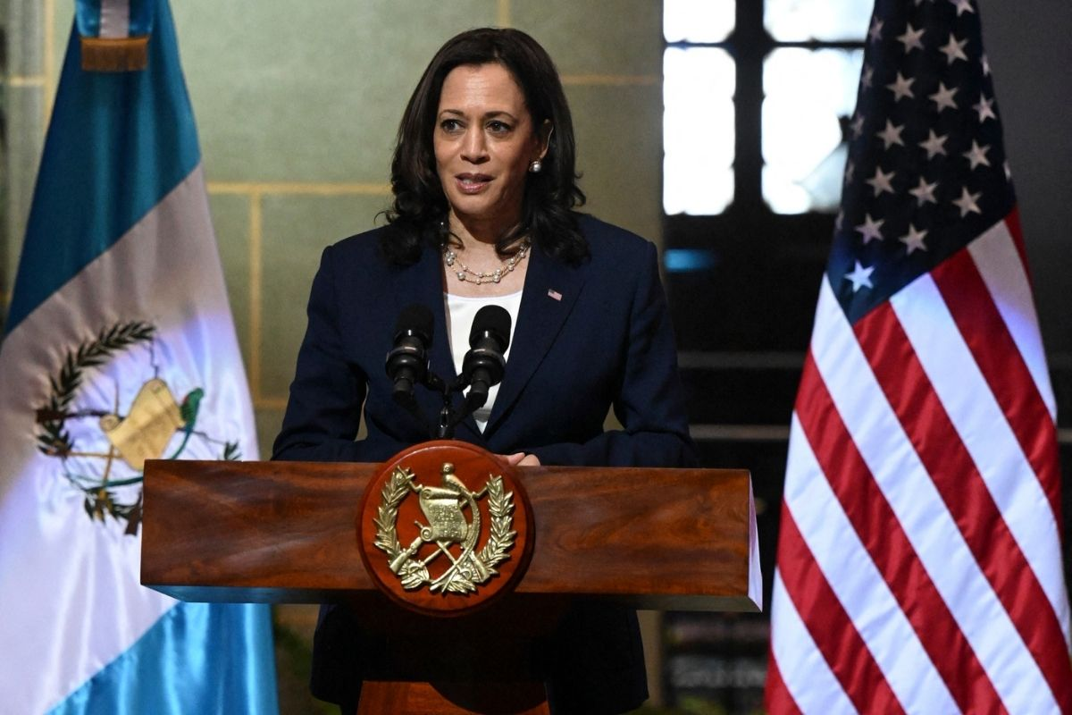US VP Kamala Harris speaks at joint press conference with Guatemalan President Alejandro Giammattei (out of frame.)