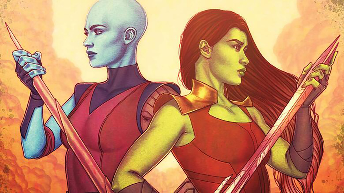 GAMORA AND NEBULA: sisters in arms cover featuring the titular sisters.