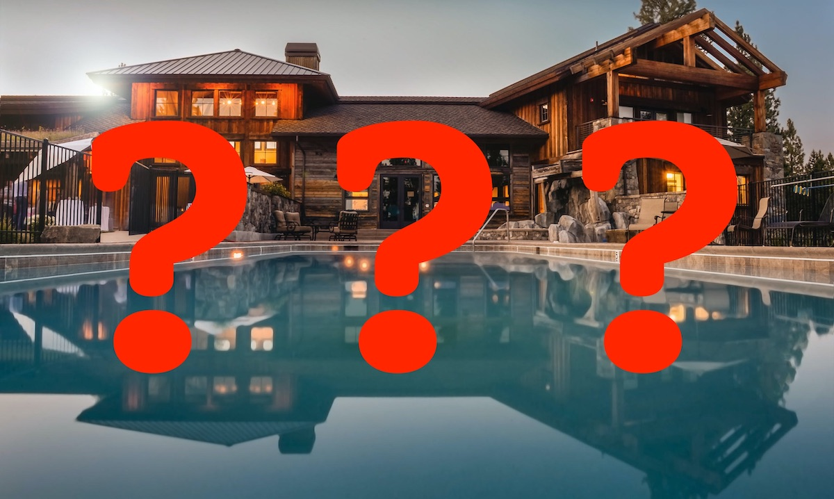 A mansion and pool with three question marks superimposed on top