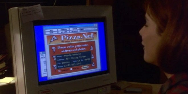 Sandra Bullock stares at an ancient computer screen in 'The Net' movie