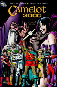 """""""Camelot 3000"""" cover with various characters from the mythology including Merlin, Morgan Le Fay and Lancelot."""