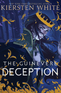 """""""The Guinevere Deception"""" by Kiersten White. Guinevere in blue light with a golden crown."""