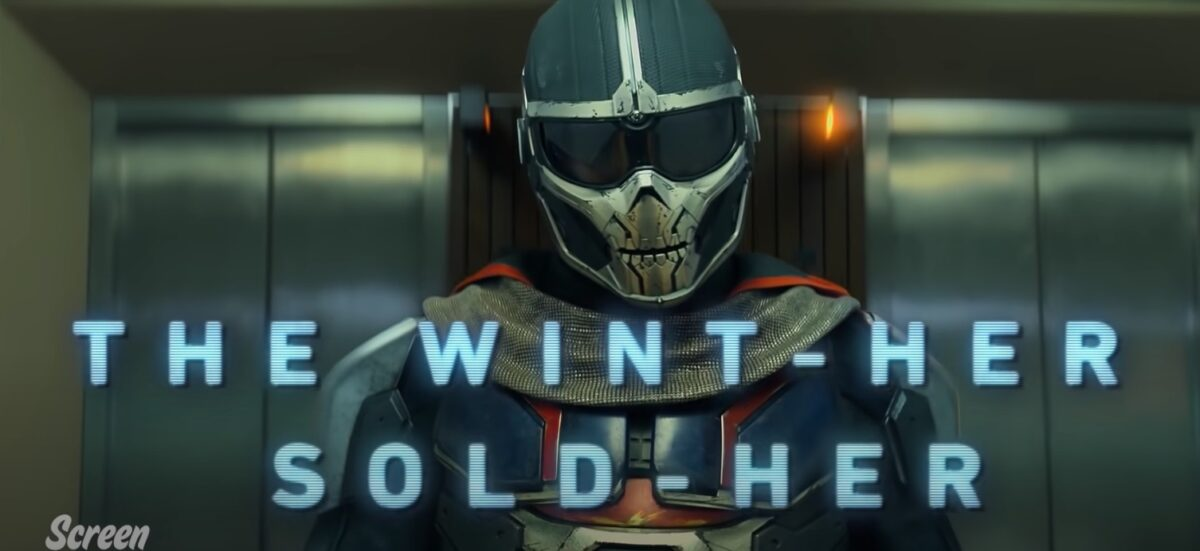 An image of the villain Taskmaster from the 'Black Widow' Honest Trailer