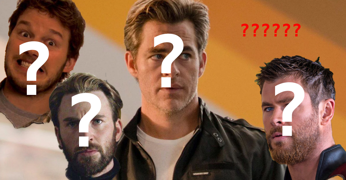Chris Pine, Chris Pratt, Chris Evans, and Chris Hemsworth with question marks over their faces.