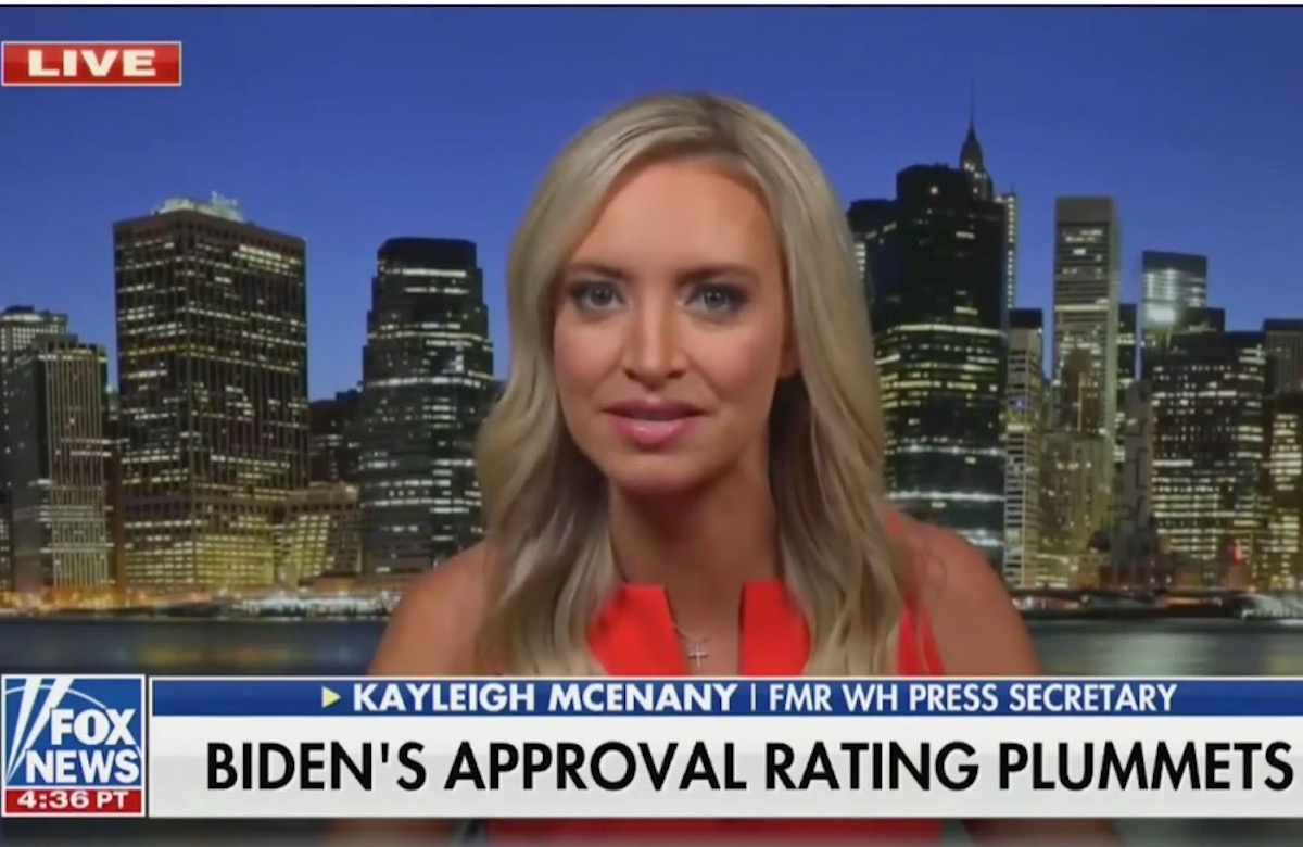 Kayleigh McEnany appears on Fox News to talk about Joe Biden's polling numbers.