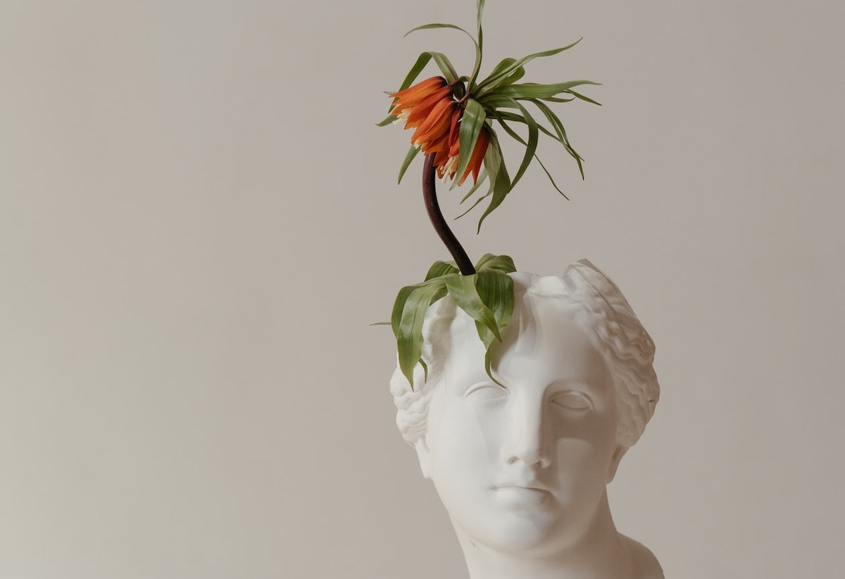 An orange flower grows from a planter shaped like a classical statue