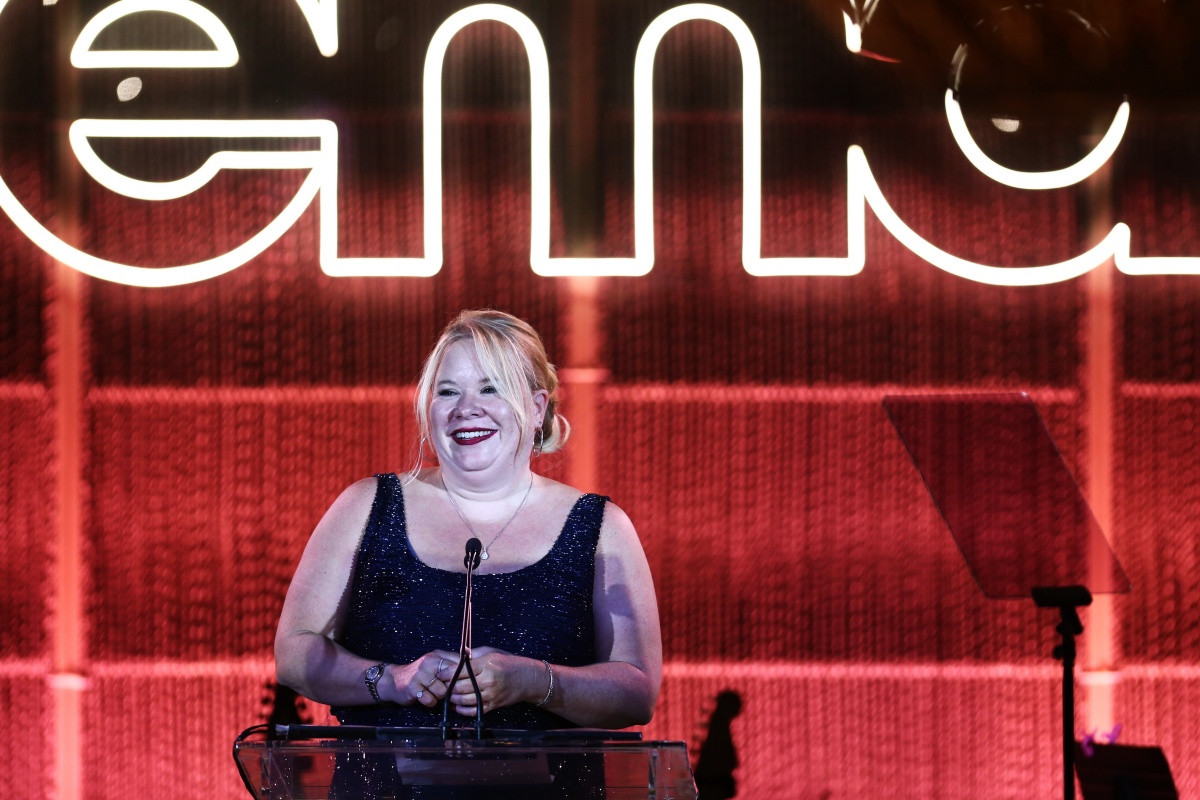 PACIFIC PALISADES, CALIFORNIA - SEPTEMBER 28: Julie Plec speaks onstage during the Environmental Media Association 2nd Annual Honors Benefit Gala at Private Residence on September 28, 2019 in Pacific Palisades, California. (Photo by Tommaso Boddi/Getty Images for The Environmental Media Association)