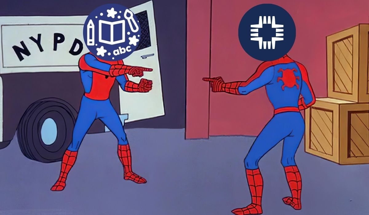 Two spiderman pointing at eachother meme from the cartoon, except their heads are replaced with the logo of Concordia University (Nebraska) and the Plum Creek Literacy Festival. (Image: CUNE/Plum Creek Literacy Festival, Sony/Marvel, and Alyssa Shotwell.)