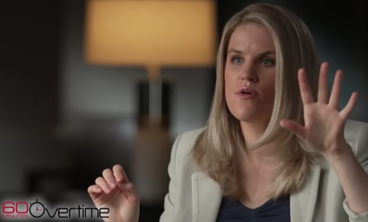 Frances Haugen gesticulates while speaking during a 60 Minutes interview