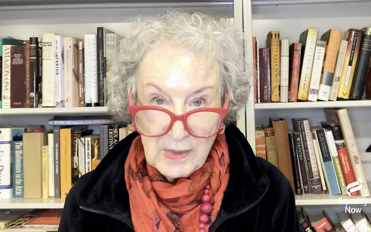 Margaret Atwood speaks in front of bookshelves in her home during Equality Now's Virtual Make Equality Reality Gala
