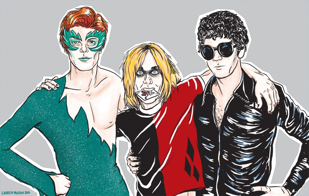 David Bowie, Iggy Pop, and Lou Reed as Poison Ivy, Harley Quinn, and Catwoman
