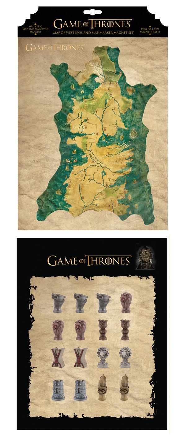 Game of Thrones Westeros Map and Marker Magnet Set