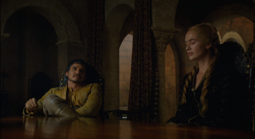 4x06, Oberyn trying (and failing) to get his flirt on with Cersei