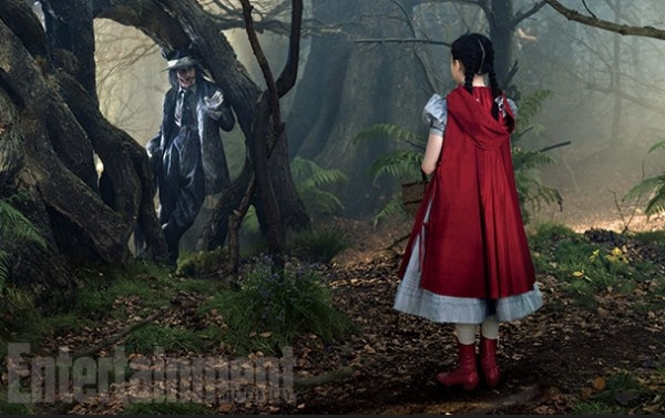 Johnny Depp and  Lilla Crawford as The Wolf and Little Red Riding Hood