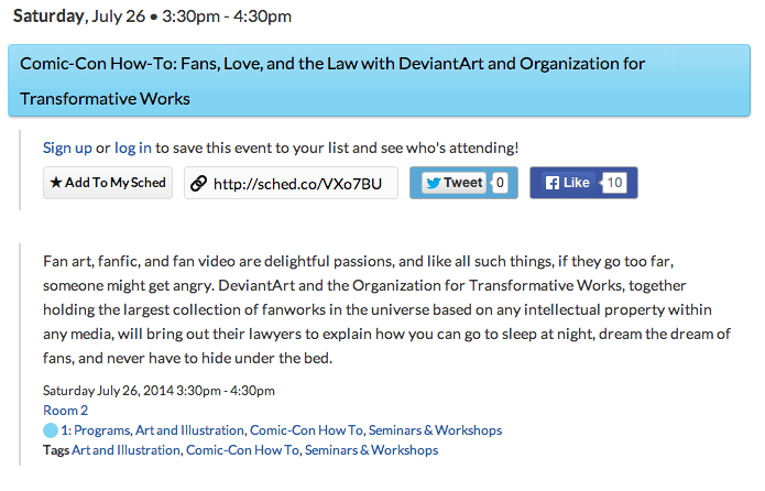 Comic-Con How-To: Fans, Love, and the Law with DeviantArt and Organization for Transformative Works