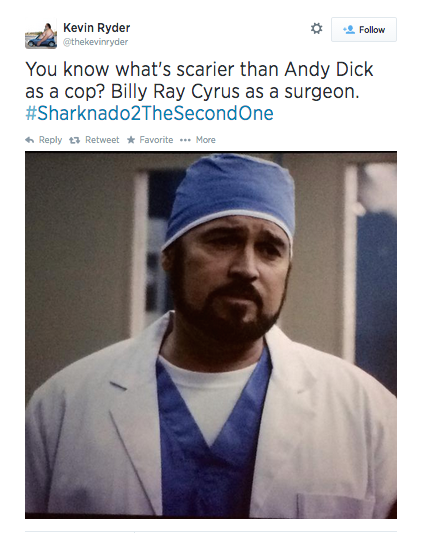 Cameos galore, including Billy Ray Cyrus as a HEART SURGEON.