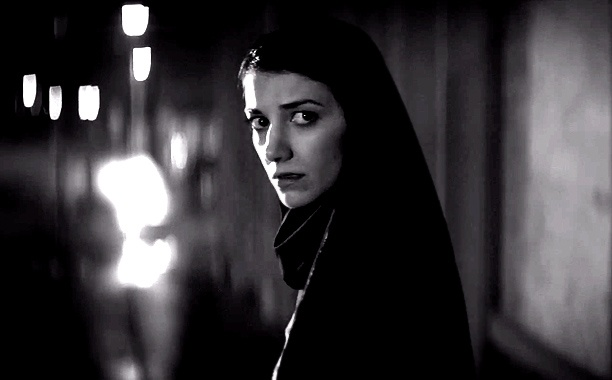 Sheila Vand as The Vampire, in <em>A Girl Walks Home Alone At Night</em>